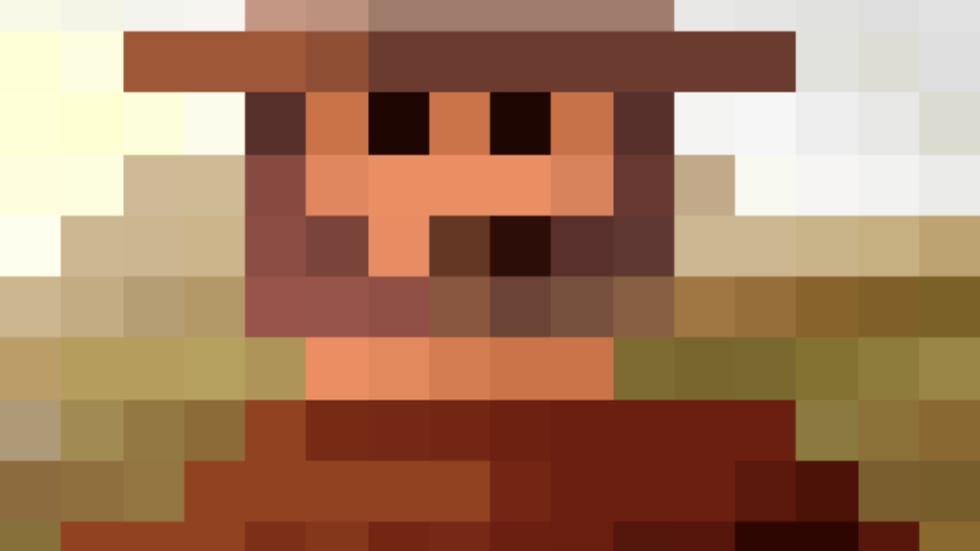 A pixelated version of Clint Eastwood
