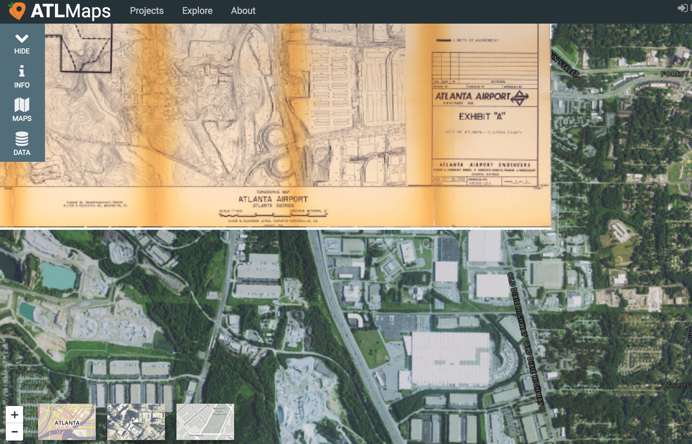 Screenshot showing map layers on the ATLMaps site