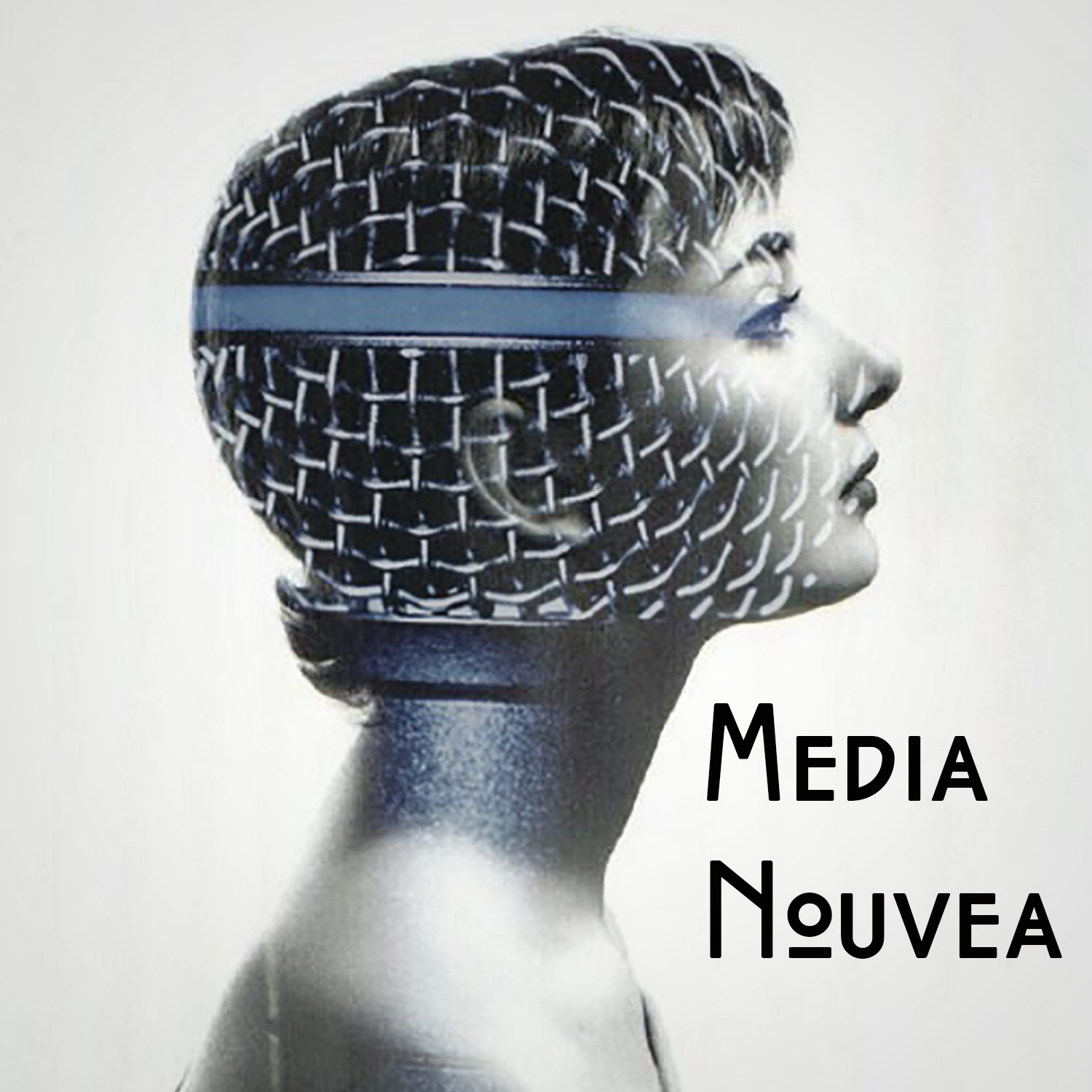 Logo for Media Nouveau. Audrey Hepburn in profile with a microphone superimposed over the image.