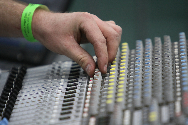 Photo of a music mixing board