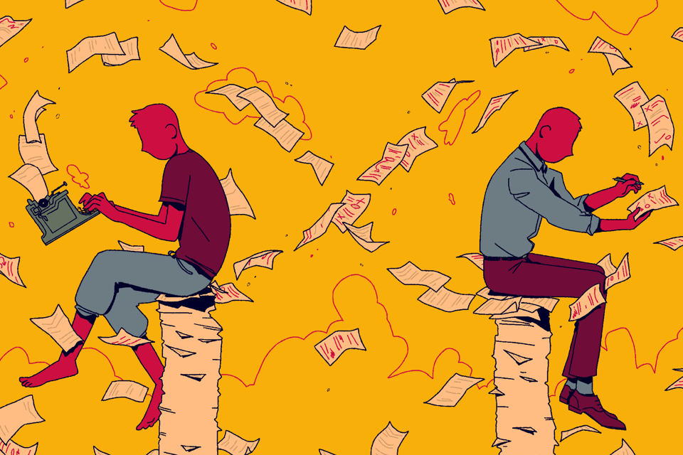 Cartoon sketch of 2 writers in an infinite loop of pages, writing and revising