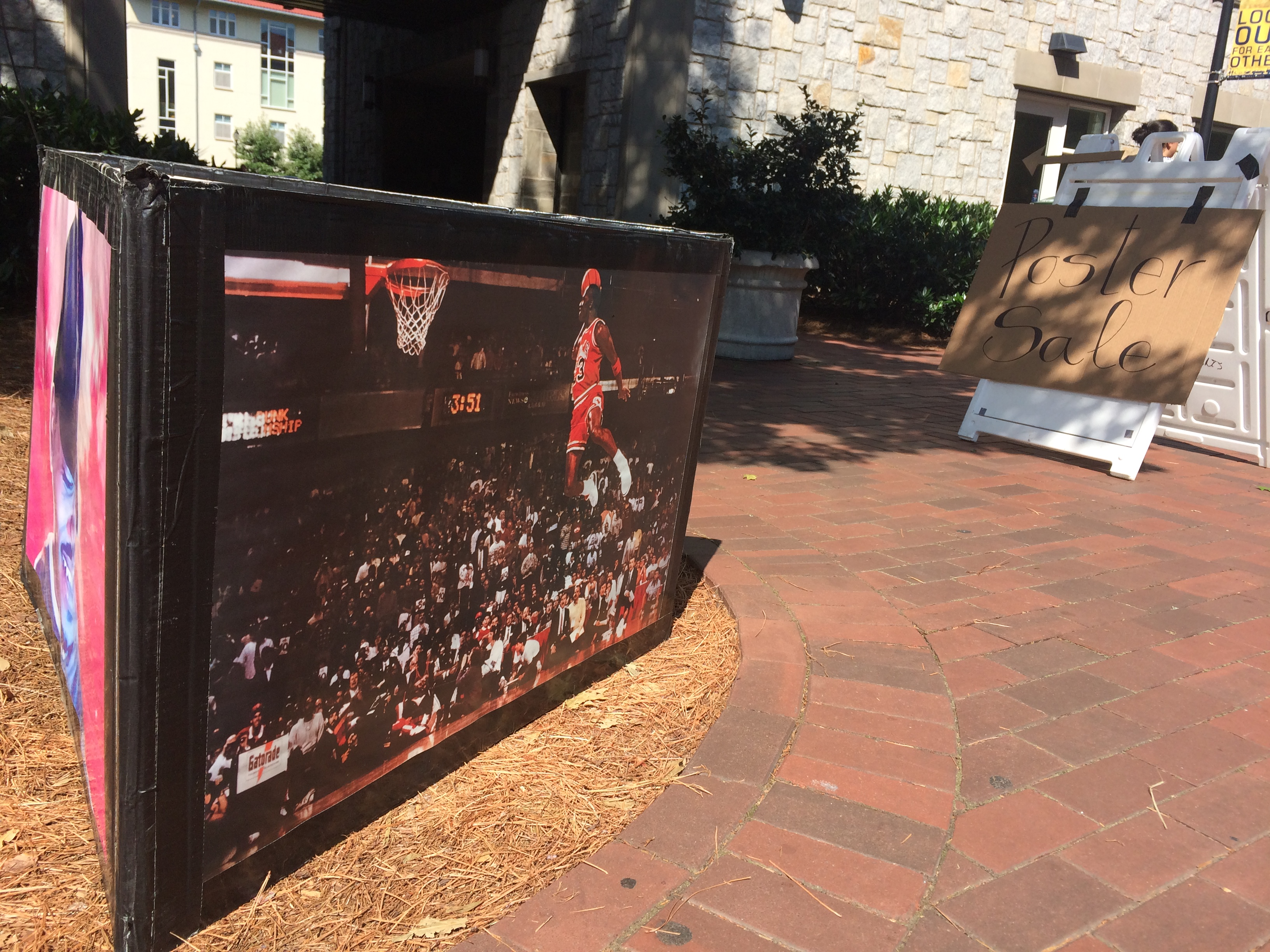 Poster display on campus showing Michale Jordan