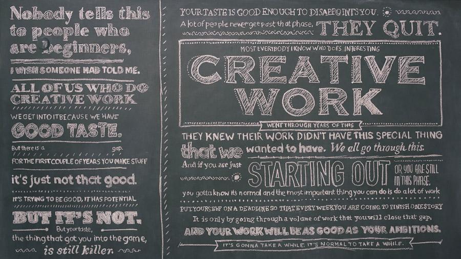 Ira Glass quote written artistically on a chalk board